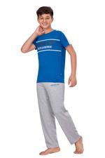 Genius Boys T-shirt With Full Pant Set , Royal Blue/Grey Melange - HDGLSS21B2338