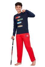 Genius Boys T-shirt With Full Pant Set , Navy/Red - HDGLSS21B2327