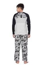 Genius Boys T-shirt With Full Pant Set , Grey/Camouflage - HDGLSS21B2341