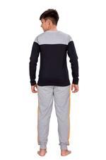 Genius Boys T-shirt With Full Pant Set , Black/Grey Melange - HDGLSS21B2335