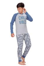 Genius Boys T-shirt With Full Pant Set , Grey Melange - HDGLSS21B2343