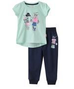 Genius Girl Printed T-shirt With Full Pant Set , Sea Green/Navy - MCGSS201527