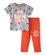 Genius Boys T-shirt With Long Pant Set ,Grey Millanch/Orange - SNGSS2137102