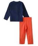 Genius Boys T-shirt With Long Pant Set ,Navy/Orange-SNGSS2137044