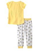 Genius Girl Printed T-shirt With Full Pant Set , Lemon/White - MCGSS201530