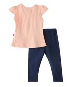 Smart Baby Baby Girls T-Shirt With Long Pant Set,Peach/Navy-SNGSS2137575