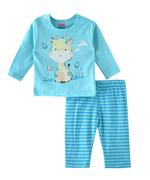 Smart Baby Baby Girls T-shirt With Full Pant Set , Aqua Blue - SIMGS21911050