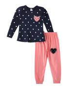 Genius Girls T-shirt With Pant Set , Navy/Peach - SNGSS2137354
