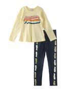 Genius Girls T-shirt With Pant Set , Lemon/Navy - SNGSS2137469