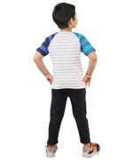 Genius Boys Striped T-shirt With Long Pant Set , Dust/Black - SNGSS2137291