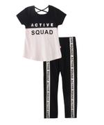 Genius Girls T-Shirt With Full Pant Set, LT-Pink/Black-SNGSS2137474