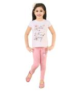 Genius Girls T-Shirt With Full Pant Set,White/Peach-SNGSS2137312