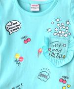 Genius Girls T-shirt With Full Pant, Light Sky Blue /Off White - SNGSS2137314