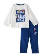 Genius Boys T-shirt With Long Pant Set,Off White /Light Airforce Blue -SNGSS2137042