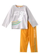 Genius Boys T-shirt With Long Pant Set ,Steel Grey / Mustard -SNGSS2137255