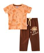 Smart Baby Baby Boys T-Shirt With Full Pant Set,Orange/Coffee-SNGSS2137737