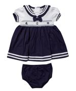 Rock A Bye Baby Baby Girls Dress With Panty Set , Navy Blue/White - JCGS21T20311
