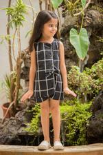 Flower Girl Girls Summer Playsuit ,Black, SIMGS20GC80