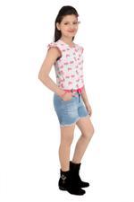 Flower Girl Girls Playsuit,Pink/Denim Blue-MCG825