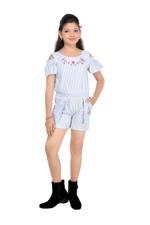 Flower Girl Girls Woven Striper Playsuit,Blue/White -MCG826