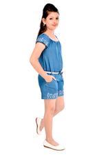 Flower Girl Girls Playsuit, Denim Blue-MCG369G19