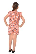 Flower Girl Girls Printed Playsuit , Peach - KFGS201576P3