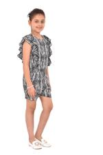 Flower Girl Girls Printed Playsuit , White/Black - KFGS201576P5