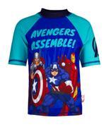 Avengers Boy's Swimwear Rash Guard, Navy/Aqua -HWGLAVGSW1