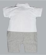 Little Kangaroos Baby Boy Formal Romper , Gray/Blue - ROGS2019399B
