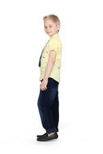 Little Kangaroos Boys H/S Shirt Frount Dino AOP,Lemon-ROGS2019107B