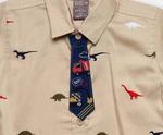 Little Kangaroos Baby Boys H/S Frount On AOP Shirt,Beige-ROGS2019324A