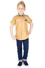 Little Kangaroos Boys Shirt With Bow ,Mustard,ROGS201919F
