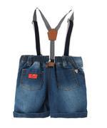 Little Kangaroos Baby Boy Denim Short With Suspender , Dark Blue - ROGS2019343A