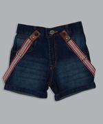 Little Kangaroos Boys Denim Short With Suspender , Dark Blue - ROGS2019139A