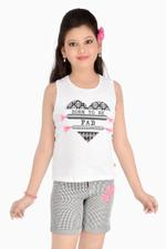 Flower Girl Girls Knit Top With Woven Shorts Set,White/Black-MCG781