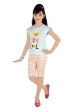 Flower Girl Girls Knit Top With Shorts Set,Sky Blue/Multi-MCG840