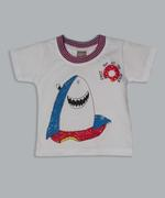 Little Kangaroos Baby Boys T-shirt With Denim Short Set , White/Light Blue - ROGS2019252A