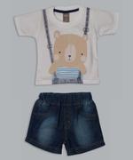 Little Kangaroos Baby Boys T-shirt With Denim Short Set , White/Dark Blue - ROGS2019295A