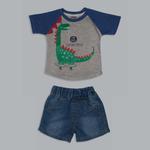 Little Kangaroos Baby Boys T-shirt With Denim Short Set , Grey/Denim Blue - ROGS2019291A