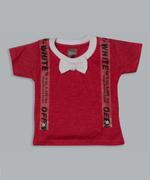 Little Kangaroos Baby Boys T-shirt With Denim Short Set , Red/Dark Blue - ROGS2019255A