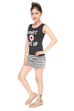Genius Girls T-shirt With Short Set , Black - MCGSS218730