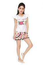 Genius Girls Top With Short Set , White/Multi - MCGSS218710