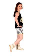 Genius Girls T-shirt With Short Set , Black/White - MCGSS218820