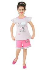 Genius Girls T-shirt With Shorts Set , Grey/Dark Pink- SNGSS2137398