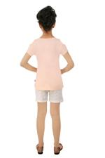 Genius Girls T-shirt With Shorts Set , Peach/White- SNGSS2137396