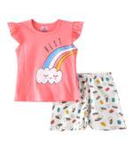 Smart Baby Baby Girls T-Shirt With Bermuda Set,Peach/White-SNGSS2137389