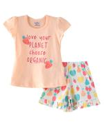 Smart Baby Baby Girls T-shirt With Shorts Set ,Peach/White- SNGSS2137512