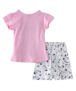 Genius Girls T-shirt With Shorts Set , Light Pink/White- SNGSS2137432