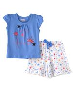 Smart Baby Baby Girls T-shirt With Shorts Set ,Pastel Blue/White- SNGSS2137566