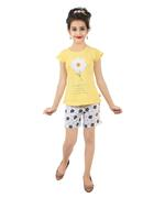 Genius Girls T-Shirt With Shorts Set,White/Yellow-SNGSS2137433